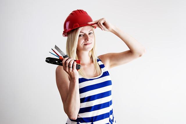 žena, helma, nástroje