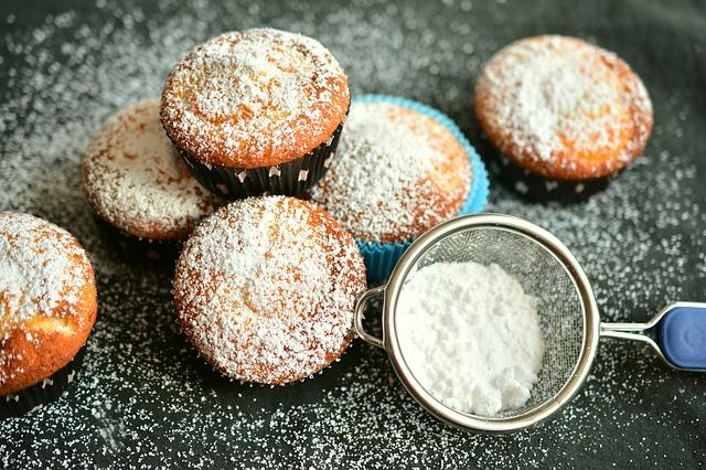 pocukrované muffinky
