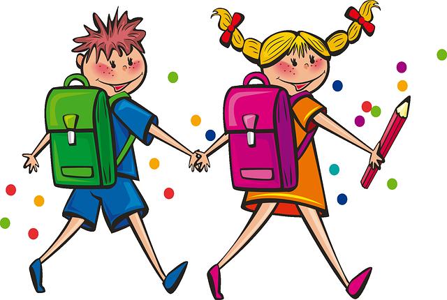 školáci s aktovkami